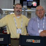 Joseph G. Poterala (left), vice president of operations, Mascoe Systems Corp., Greenville, S.C.; and Paul Ledford, president, Green Textile Machine LLC, Kings Mountain, N.C.