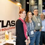 (left to right): Jessy Lauga-Brown, regional sales manager, textiles, and sales administrator, Tinius Olsen, England; Susan Miller, sales administration, SDL Atlas, Rock Hill, S.C.; John Crocker, business development manager, SDL Atlas; and Brian M. Leavitt, sales engineer, Process Innovations, Dartmouth, Mass.