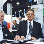 (left to right): Roland Zimmer, president and CEO, Zimmer America Corp.; Bob Patterson, sales manager, Zimmer America; and Tony Guhr, director, Carbon Fiber Remanufacturing