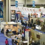 A view of the Techtextil exhibitor section of the show floor.