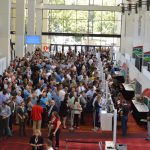 The registration area was full on opening day for the exhibit floor.