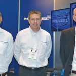 (left to right): Hans-Joachim Menzel, Simon Reinhardt and Brian Harris, Menzel (USA); Joseph N. Silvestri, Industrial Technologies Inc.; and Kent Bolick, Menzel (USA)