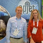 Wade Tyner (left), manager, Applications Engineering; and Martha A. Miller, vice president, Business Development, APJeT Inc., Morrisville, N.C.