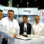 (left to right): Alberto Guerrero, Mexico-based Techni Felts; Doug Stowers, sales engineer - Technical Fibers, EMS-Chemie (North America) Inc.; Cesar Nieto, project manager, Mexico-based Parautos S.A. de C.V.; and L. Dean Johnson, market manager - Technical Fibers, EMS-Chemie (North America) Inc.