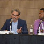 "The Advanced Textiles Conference featured a keynote luncheon titled ""Unexpected Paths Of Diversification."" John Neely (left), director of Marketing and Product Management Building and Construction, Berry Global, was one of the panel members."