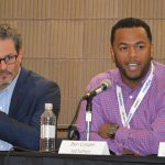 Ben Cooper (right), managing director, IoClothes, was a panelist at the keynote luncheon.