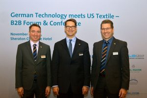 (left to right): Nicolai Strauch, international markets, public relations; Olaf Stecken, composite technology; and Boris Abadjieff, VDMA Textile Machinery Division