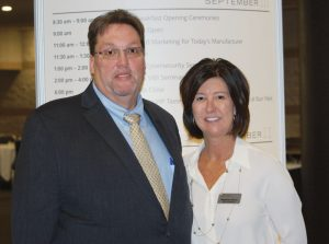 The Synthetic Yarn &  Fabric Association's  Rodney Turner (left) with AFA's Stephanie Manis