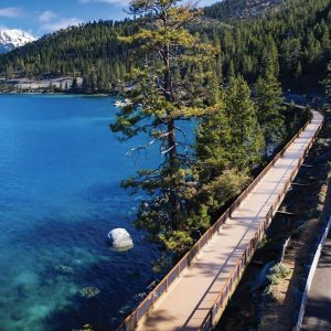Composite Advantage, Dayton, Ohio, constructed a shared-use bridge at Lake Tahoe, which features 32 prefabricated fiber reinforced composite sections on steep hillsides that could not accommodate ground paths.